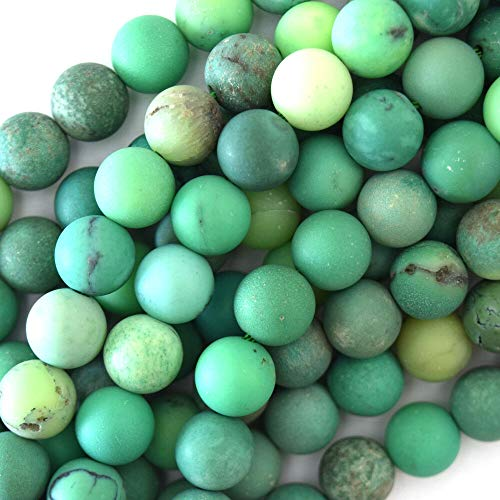 Matte Green Chrysoprase Round Beads Gemstone 15.5