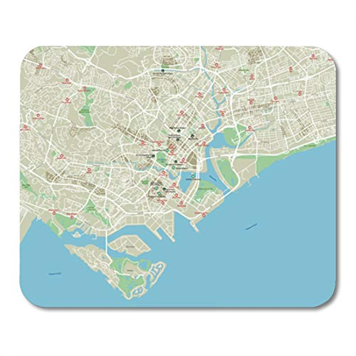 Semtomn Gaming Mouse Pad Brown Road City Map of Singapore with Well Organized Separated Layers Green 9.5'x 7.9' Decor Office Nonslip Rubber Backing Mousepad Mouse Mat
