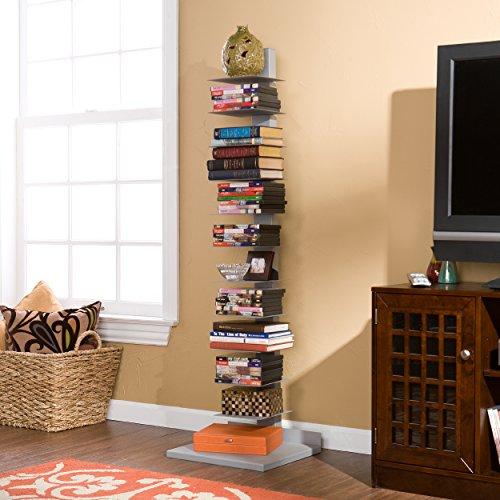Southern Enterprises Spine Book Tower - Metal Floor Shelves, Silver by Southern Enterprises (Image #3)