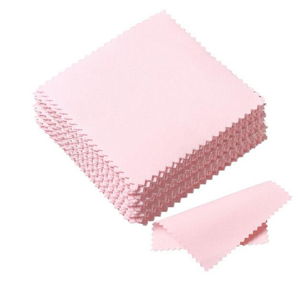 50PCS 3x3'' Pink Soft Jewelry Cleaning Cloth Polishing Cloth for Sterling Silver Gold Brass Platinum and Copper (Pink) erioctry