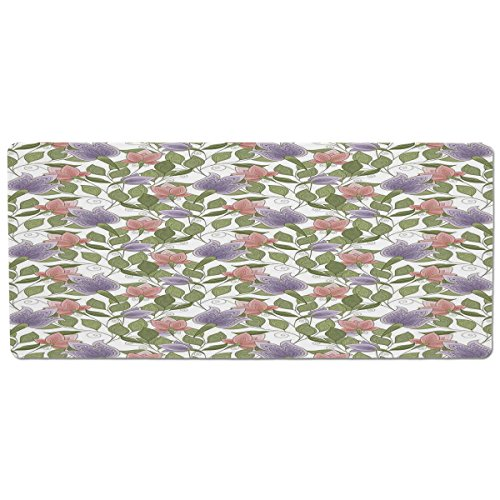 iPrint Pet Mat for Food and Water,Floral,Pastel Tone Tulip Flower Aged Ottoman National Symbol Petals Image,Coral Lilac and Olive Green,Rectangle Non-Slip Rubber Mat for Dogs and Cats