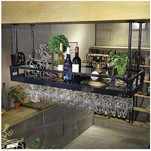 ワイングラス ホルダー ハンガー 穴あけ不要 棚厚さ調節可能 ワイングラスハンガー ハンギングワインシェルフラックシーリングワインラックゴブレットステムウェアラックホルダー逆さまワイングラスラックヨーロッパレトロバーホームレストラン調整可能な高さブラック/ブラウン 簡単に取り付 ワインホルダー 吊り下げ 用 ワインラック ワイン収納 シャンパンホルダー 家飾り