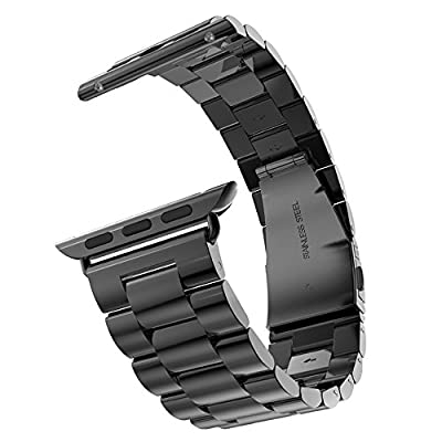 Apple Watch Band, Solid Stainless Steel Metal Unique Polishing Replacement with Durable Folding Clasp Connector