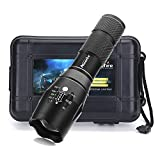 ALONEFIRE led high powered tactical flashlight ultra bright handheld torch adjustable focus 5 modes G700 kit with rechargeable 18650 Battery flashlight keychain for home sports camping outdoors