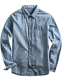 Men's 100% Cotton Denim Solid Color Long Sleeve Dress Shirt