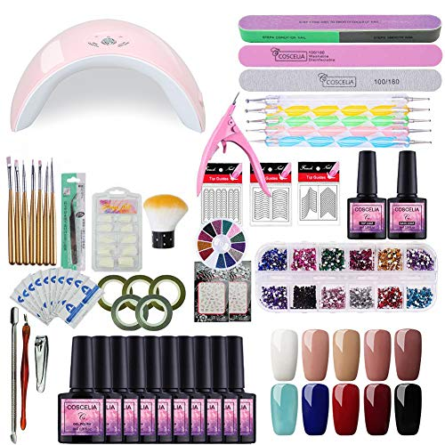 - Fashion Zone 10 Color Gel Nail Polish Starter Kit with 36W LED UV Lamp, Base Top Coat Manicure Tools Sets for Home or Professional Salon