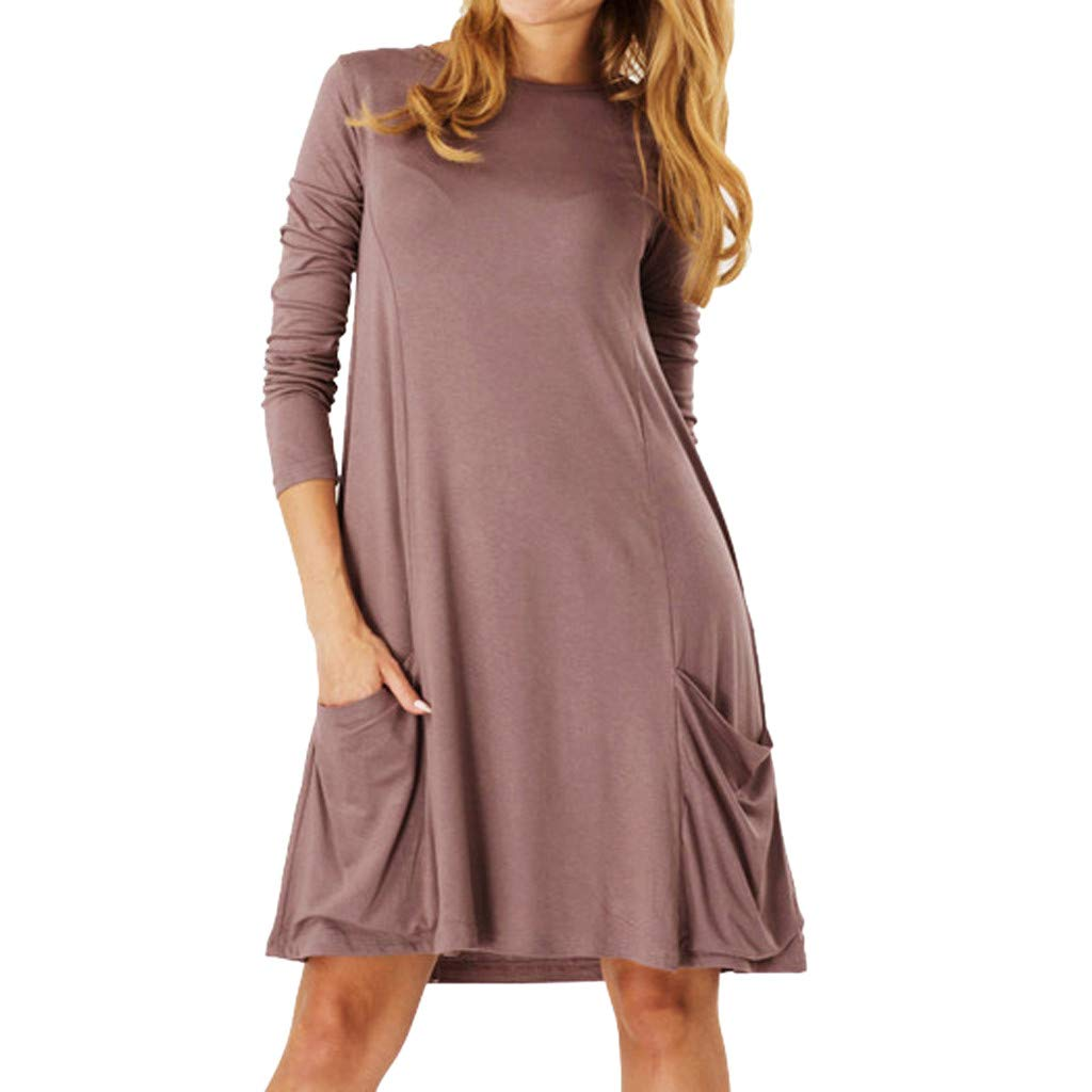 Dress for Women Solid Colors Basic T-Shirt Dresses Plain Simple Tunic Loose Dress Casual Knee Length Dress Pockets Coffee by CCOOfhhc