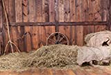 Yeele 9x6ft Old Western Barn Background for Photography Hay Straw Wheel Vintage Wooden Board Wall Backdrop Kid Adult Photo Booth Shoot Vinyl Studio Props