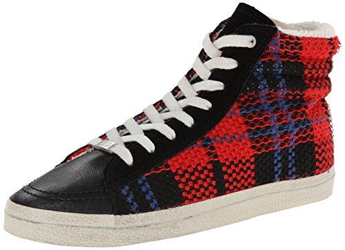 Kim & Zozi Womens Rutig Mode Sneaker Röd