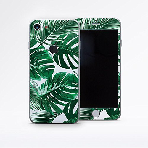 Tropical Fern iPhone Decal Sticker Full Back and Front Plate Cover Palm Leaves Solid Transparent Sticker for Apple iPhone X 10 8 7 plus iPhone 6 6S plus Scratch Protective ()