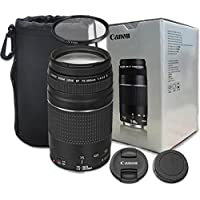 Canon EF 75-300mm f/4-5.6 III Zoom Lens with UV Filter, Lens Case for Canon EOS 7D, 80D, 60D, 77D, EOS Rebel T7i, SL1, T1i, T2i, T3, T3i, T4i, T5i, XS, XSi, XT, Xti - International Version