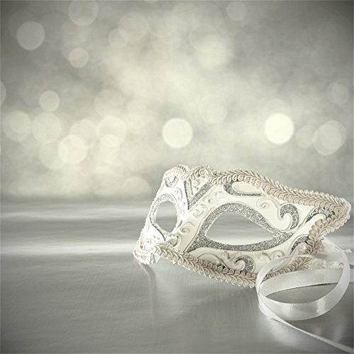 LFEEY 6x6ft Luxury Masquerade Ball Backdrop Carnival Silver White Mask Boken Photography Background Costume Party Decoration Poster Photo Studio Props ()