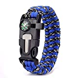 hiker whistle - Freehawk Tactical Outdoor Survival Paracord Bracelet/Emergency Kit With Thermometer Fire Starter Scraper Whistle Kit-Parachute Cord-Escape Survival Gear Pack for Hiking,Hunting (Blue&Black 1PCS)