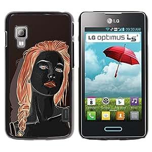 GOODTHINGS Funda Imagen Diseño Carcasa Tapa Trasera Negro Cover Skin Case para LG Optimus L5 II Dual E455 E460 - chica pelirroja negro labios rojos Mujer