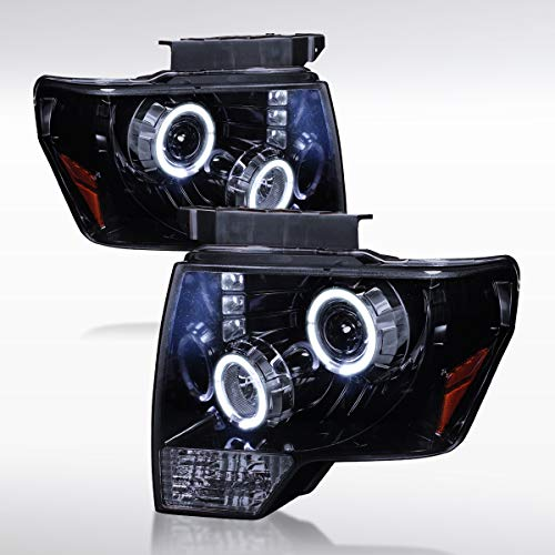 Autozensation Glossy Black Ford F150 Halo LED Lamps Projector Headlights