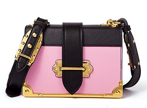 XinMaoYuan pequeña bolsa de hombro bolsa cuadrado Retro Hit Messenger bolsos de cuero de color Rosa con negro