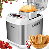 Cheap VIVREAL Bread Maker, Automatic Breadmaker Machine 1.5LB, Home Bakery Pro 12 Menus with Gluten Free, 3 Crust Colors 2 Loaf Sizes, 15h Delay Time 1h Keep Warm, Superior Safety ETL Listed Stainless Steel