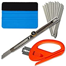 """Ehdis® Car Glass Protective Film Installing Tools: 4"""" Felt Edge Car Squeegee, Snitty Safety Vinyl Cutter, Auto Lock Utility Knife with 10 Blades"""