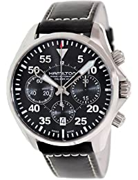 Hamilton Men's H64666735 Black Leather Swiss Automatic Watch with Black Dial