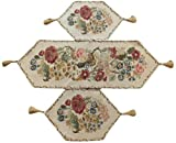 Tache 3 Piece Floral Tapestry Country Rustic Morning Meadow Table Runner Set – 3098