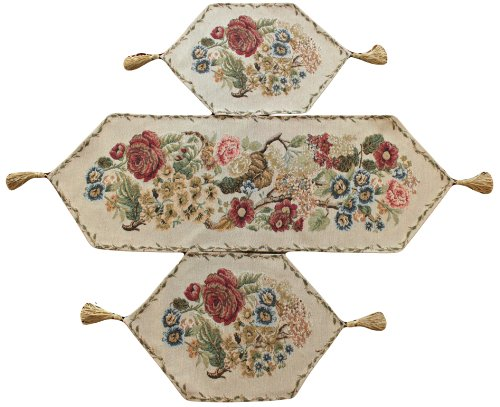 Tache 3 Piece Floral Tapestry Country Rustic Morning Meadow Table Runner Set - 3098
