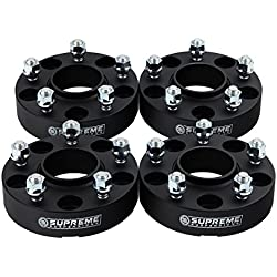 "Supreme Suspensions - (4pc) 2007-2016 Jeep Wrangler JK 2"" Hub Centric Wheel Spacers 5x5"" (5x127mm) with Lip + 1/2""x20 Studs [Black]"