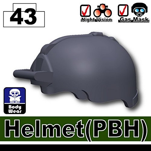 [PBH Tactical Helmet 3 Pack in Dark Gray - Custom Minifigure Pieces] (Toy Gas Mask)
