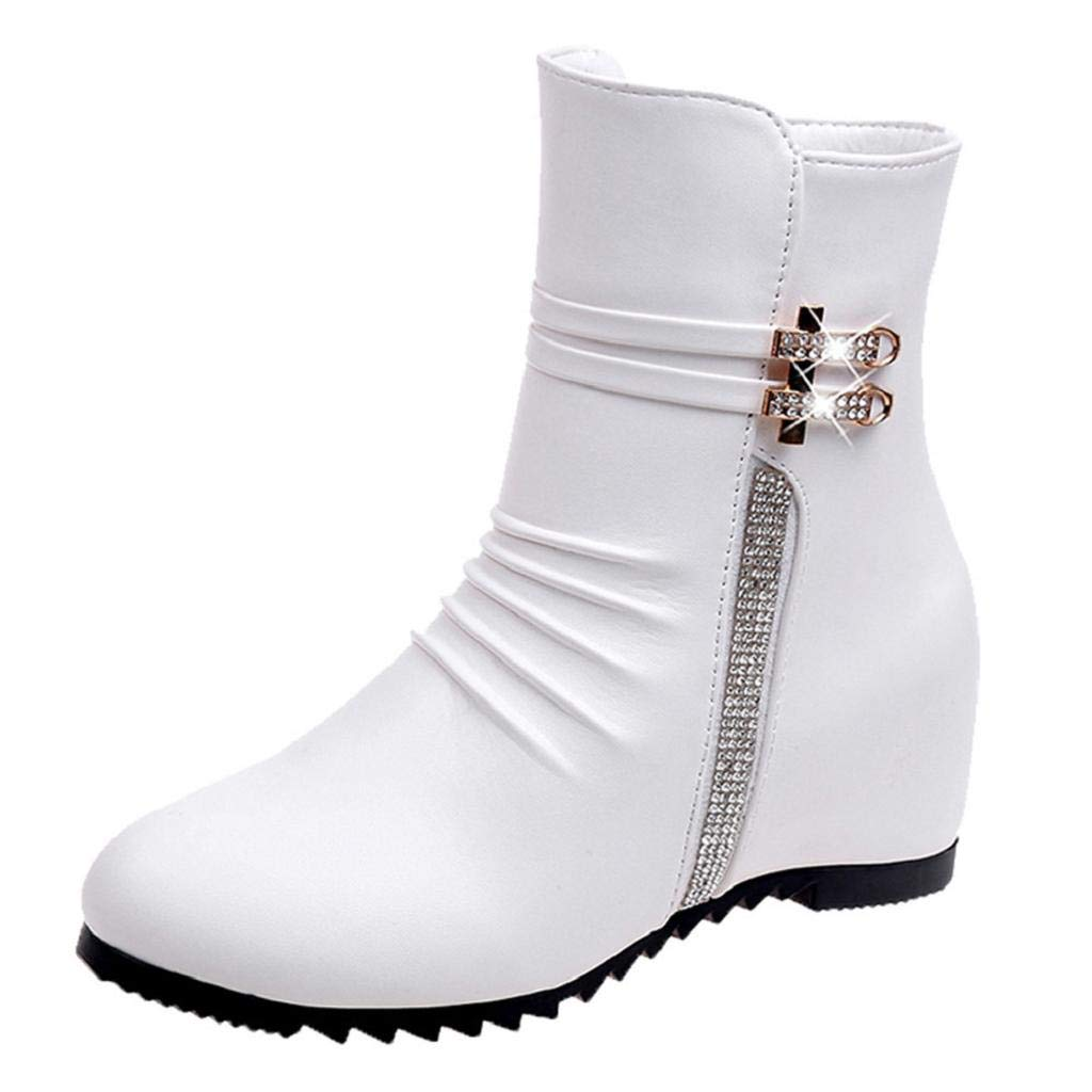 Women Winter Boots, REYO Leather Solid Round Toe Wedges Shoes Warm Zipper Snow Boots Casual Martin Walking Shoes