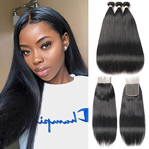 FASHION QUEEN Hair Straight Weave 7A Brazilian Virgin Hair 3 Bundles with Lace Closure Free Part Mixed Size Length Perfect for Natural Color Hair Weft(12 14 16 +10)