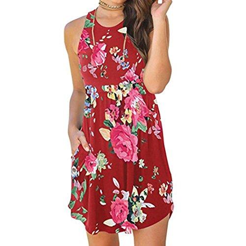 maniche Maniche Vestito Chenang cocktail Senza Day Grande Floreale Rosso casual Girocollo Promozione Dress Con Corte Canotte Tasche elegante abito dress mini prime Donna Stampa qa4zWq
