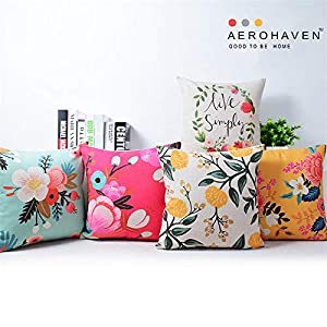 AEROHAVEN Set of 5 Designer Decorative Throw Pillow/Cushion Covers – CC122 – (16 inch x 16 inch, Multicolour)