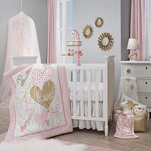 Lambs & Ivy Layla Pink/Gold Hearts & Love 4-Piece Nursery Baby Crib Bedding ()