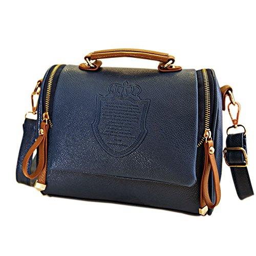 Espeedy Paquete Oscuro Cuesta Británico Hombro Bolso Azul Retro Estilo Bolsa De Mujer Mujeres bolso Hombro En SnRSxHqrw