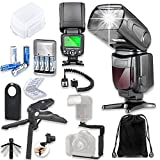 TTL Speed light Flash for Nikon DSLR Cameras with Soft Case + TTL Cord + Flash L-Bracket Grip + Flexible Steady Pod + 4 High Capacity AA Rechargeable Batteries & Charger + Accessory Bundle