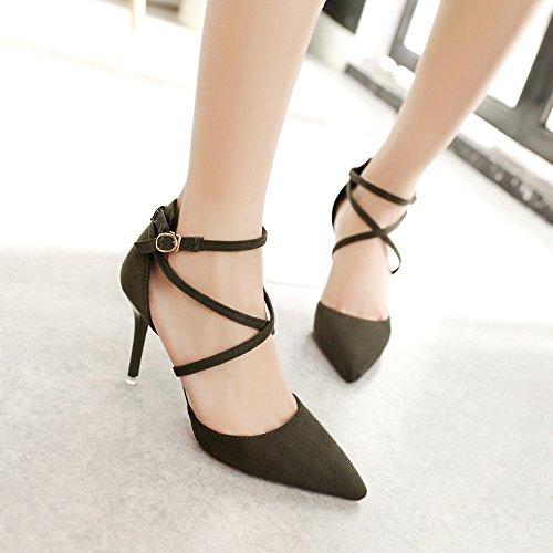 Con Boca Shoes 5 Alto De Mujer Zapatos Foot Coreano Straps Nuevo Green MUYII La Fino Baja Tacón Con 8 CM Punta De xXaqBSn