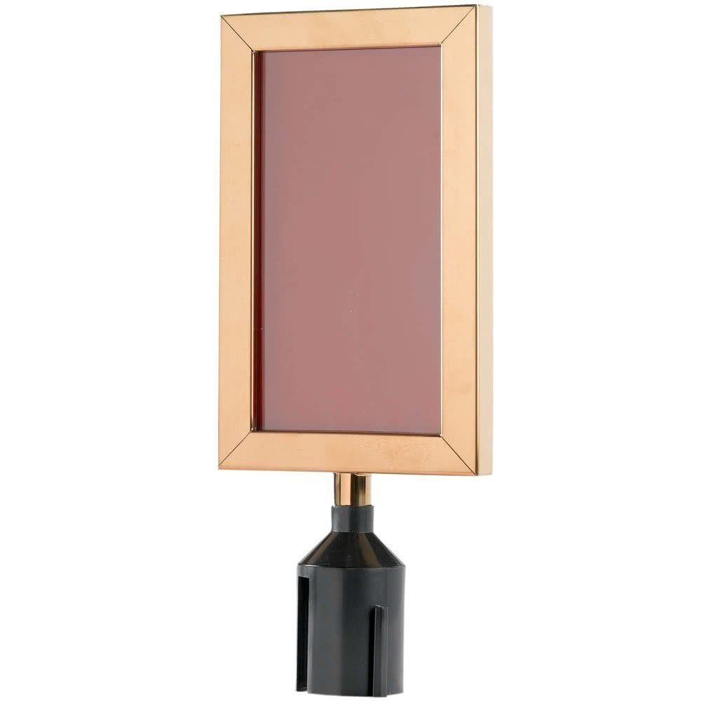 11 1/8'' x 8 5/8'' Brass Finish Vertical Removable Steel Stanchion Sign Frame By TableTop King