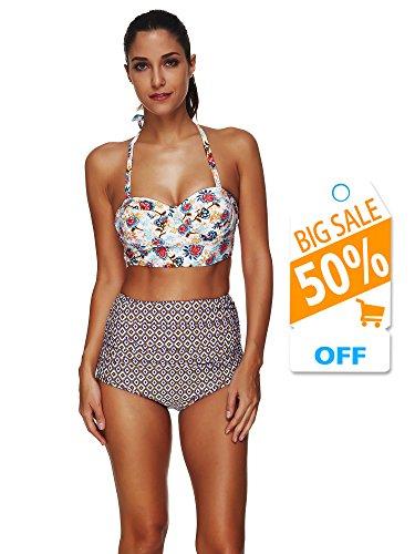 Arrontop Womens Retro Boho Polka Underwire High Waisted Swimsuit Tankini Bathing Suits Bikini (XL, Floral Top With Diamond Pattern Bottom) -