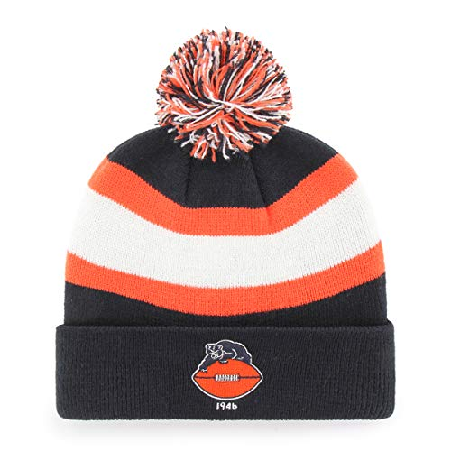 OTS NFL Chicago Bears Male Rush Down Legacy Cuff Knit Cap with Pom, Navy, One Size