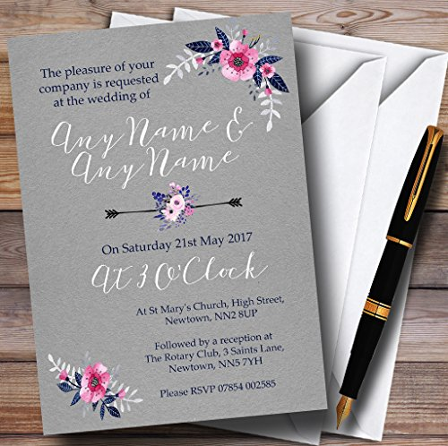 Rustic Vintage Watercolour Navy Blue & Silver Personalized Wedding Invitations