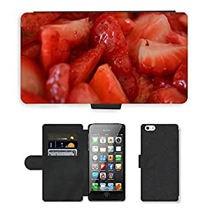 PU Cuir Flip Etui Portefeuille Coque Case Cover véritable Leather Housse Couvrir Couverture Fermeture Magnetique Silicone Support Carte Slots Protection Shell // M00154221 Las fresas fruta roja Dulces // Apple iPhone 5 5S 5G SE