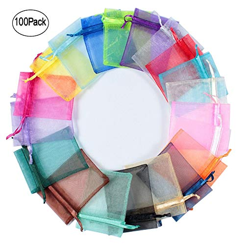 iLoving Organza Bags 2x3, Small Bags with Drawstring, Jewelry Pouch Candy Bags 100 Pcs Mixed Color Organza Mesh Satin Mini Party Wedding Favor Gift Bags