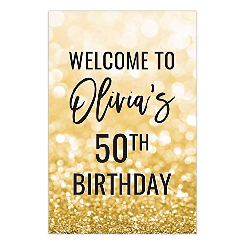 Andaz Press Personalized Extra Large Birthday Easel Board Party Sign, 12x18-inch, Glitzy Faux Gold Glitter, Welcome to Olivia's 50th Birthday, 1-Pack, Custom Name Age ()