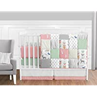 Coral, Mint and Grey Woodsy Deer Girls Baby Bedding 9 Piece Crib Set with Bum...