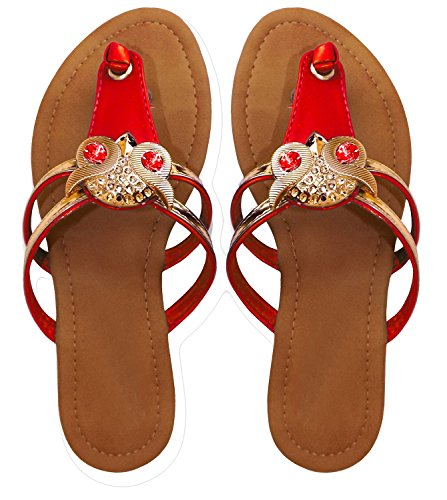 Peach Couture Gem Studded Open Back Synthetic Leather Flat Thong Sandal Red 7