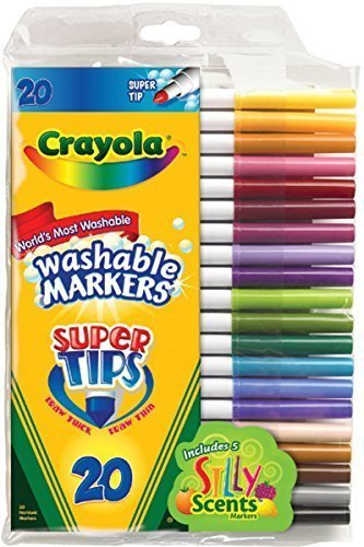 2 PACK Crayola 20ct Washable Super Tips (5 Fun-Scented Markers Included) Size: 2 Pack Model: by Crayola