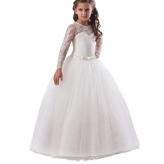 feiXIANG Vestito Principessa Bambina Abito in Pizzo con Fiocco Abito  Ragazza Eleganti da Cerimonia Abiti da a2ab8105e19