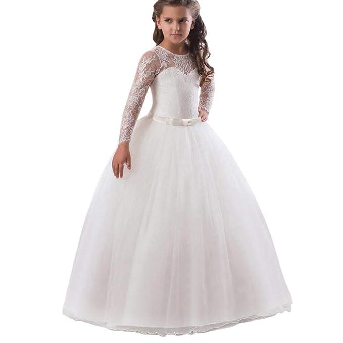 4498df2a63c7 feiXIANG Vestito Principessa Bambina Abito in Pizzo con Fiocco Abito  Ragazza Eleganti da Cerimonia Abiti da
