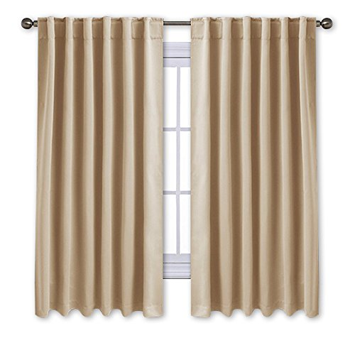 Curtain Panels Hanging (NICETOWN Window Treatment Curtains Room Darkening Drapes - (Cream Beige Color) 52 Width X 63 Drop Each Panel, 2 Panels Set, Curtains and Draperies for Kitchen)