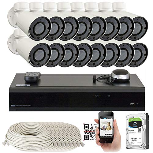 GW 16 Channel H.265 4K NVR 5MP IP Network PoE PTZ Camera System, 16pcs 5MP 1920p PoE 4X Optical Pan Tilt Zoom Bullet Security Camera, 130ft Night Vision, 4TB Hard Drive Included