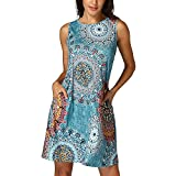 Libermall Women's Dresses Casual Vintage Boho Printed 3/4 Sleeve Knee Length Mini Dress Beach Sundress